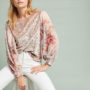 nwt new Anthropologie Floral-Sleeve Velvet Top